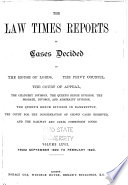The Law Times Reports Of Cases Decided In The House Of Lords The Privy Council The Court Of Appeal New Series  Book PDF