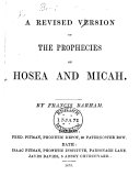 Pdf A Revised Version of the Prophecies of Hosea and Micah. By Francis Barham