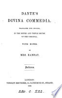 Dante S Divina Commedia Tr In The Metre And Triple Rhyme Of The Original With Notes By Mrs Ramsay