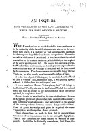 An inquiry into the nature of the laws according to which the Word of God is written   By Samuel Noble   From a periodical work  published in America
