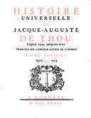 Histoire Universelle, de Jacques Auguste de Thou