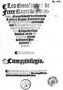 Les Bucoliques de frere Baptiste Mantuan ebook