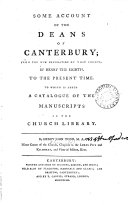 Some Account of the Deans of Canterbury