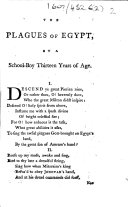 The Plagues of Egypt  by a School boy Thirteen Years of Age  i e  John Ryland