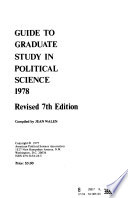 Guide to Graduate Study in Political Science 1978