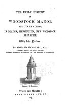 The Early History of Woodstock Manor and Its Environs
