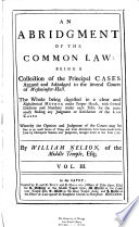 An Abridgment of the Common Law