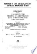 Departments of Labor and Health, Education, and Welfare Appropriations for 1970