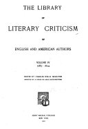 The Library of Literary Criticism of English and American Authors ...: 1785-1824