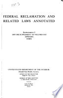 Federal Reclamation and Related Laws Annotated  Through 1958 Book