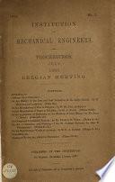 Proceedings Institution Of Mechanical Engineers July 1883 Belgian Meeting