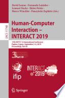 Human Computer Interaction     INTERACT 2019