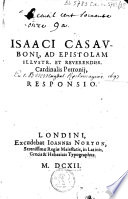 Isaaci Casauboni, ad epistolam cardinalis Perronij responsio