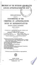 Department of the Interior and Related Agencies Appropriations for 1958