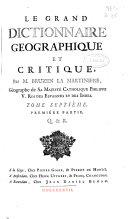 Le grand dictionnaire geographique et critique
