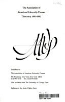 The Association Of American University Presses Directory 1991 92