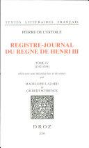 Registre-journal du règne de Henri III