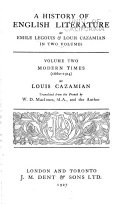 A History Of English Literature Modern Times 1660 1914 By Louis Cazamian Tr From The French By W D Macinnes And The Author