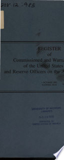 Register of Commissioned and Warrant Officers of the United States Navy and Reserve Officers on Active Duty