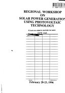 Regional Workshop on Solar Power Generation Using Photovoltaic Technology