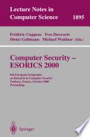 Computer Security - ESORICS 2000