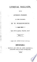 Lyrical ballads, with other poems [including some by S.T. Coleridge]. From the Lond