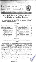 Blue Mold Decay of Delicious Apples in Relation to Handling Practices