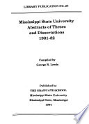 Mississippi State University Abstracts of Theses and Dissertations
