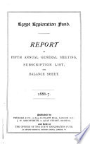 Report of ... Annual General Meeting, Subscription List and Balance Sheet