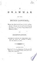 A Grammar Of The Dutch Language