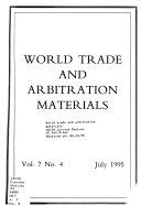 World Trade and Arbitration Materials
