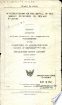 Implementation of the Repeal of the Combat Exclusion on Female Aviators Book PDF