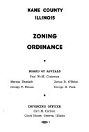 Zoning Ordinance  Kane County  Illinois  and Set Back Resolution as Adopted by Kane County Board of Supervisors