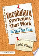 Vocabulary Strategies That Work Book