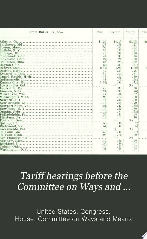 Tariff hearings before the Committee on Ways and Means of the House of Representatives  Sixtieth Congress