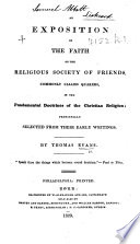 An Exposition Of The Faith Of The Religious Society Of Friends Commonly Called Quakers Etc