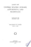 List of United States Judges, Attorneys and Marshals