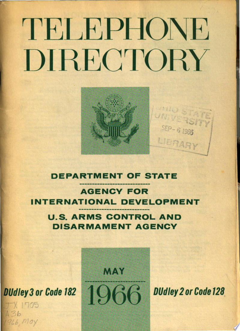 Telephone Directory - Department of State, Agency for International Development, Arms Control and Disarmament Agency, Overseas Private Investment Corporation banner backdrop