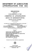 Department of Agriculture Appropriations for 1961