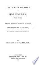 The   dipus Coloneus of Sophocles Book PDF