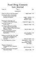 Food, Drug, Cosmetic Law Journal