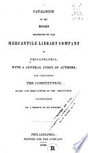 Catalogue of the Books Belonging to the Mercantile Library Company of Philadelphia