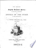 The History of English Dramatic Poetry to the Time of Shakespeare: and Annals of the Stage to the Restoration. A New Ed