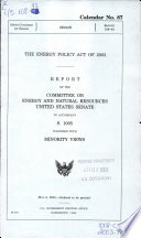 The Energy Policy Act of 2003 Book