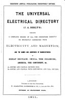 The Universal Electrical Directory J A Berly S