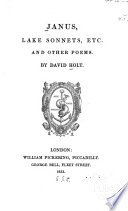 Janus Lake Sonnets Etc And Other Poems