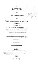 A Letter on the Principles of the Christian Faith   Edited by Sir J  Sinclair       Third edition