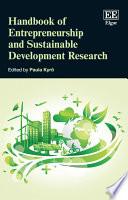 Handbook of Entrepreneurship and Sustainable Development Research