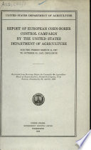 Report of European Corn borer Control Campaign by the United States Department of Agriculture