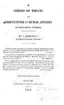 A Series of Essays on Agriculture   Rural Affairs